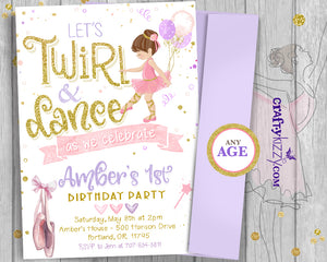 Ballerina 1st Birthday Invitation - Girl Twirl and Dance Invitations - Tutu Printable Invitations