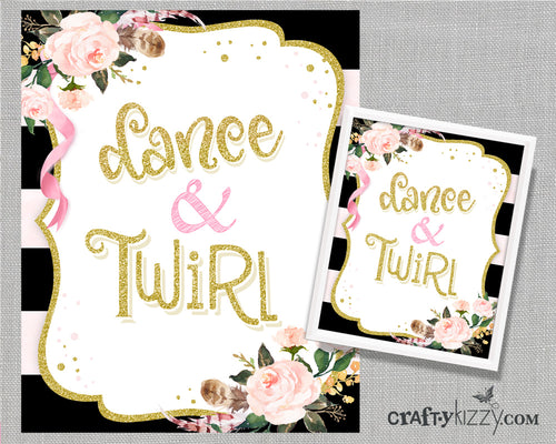 Dance and Twirl Watercolor Floral Nursery Room Art Print - Pink and Black Printable Illustration - Wall Decor - INSTANT DOWNLOAD - CraftyKizzy