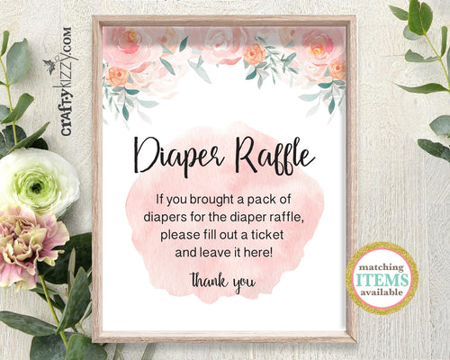 Baby Shower Diaper Raffle Sign Roses - Pink Game Sign - Diaper Game Printable Table Signs - INSTANT DOWNLOAD