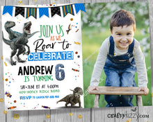 Dinosaur Birthday Invitation - Prehistoric Dino Invitations - Let's Roar Raptor Triceratops Party