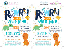 First Birthday Dinosaur Birthday Invitation - Roar Wild Dino Party Invitations - Stomp Chomp Roar - Dinosaur Invitations for Kids
