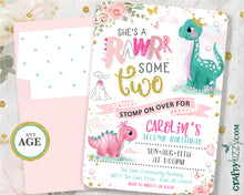 Princess Dinosaur First Birthday Invitation