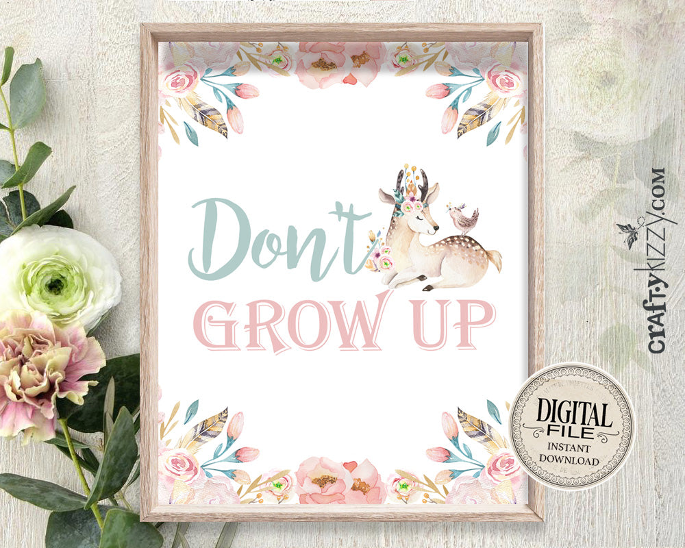 Nursery Wall Art - Don't Grow Up Printable - Kids Room Decor - Baby Deer Prints - Nursery Wall Print - Forest Deer Print - INSTANT DOWNLOAD