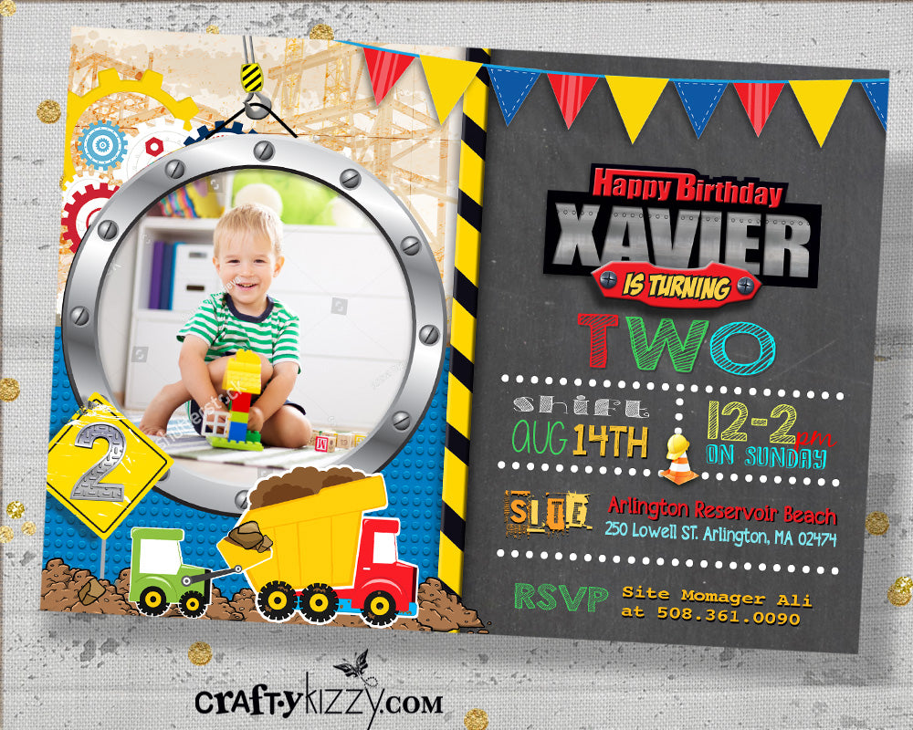 Dump Truck First Birthday Invitation - Front Loader Second Birthday Party Invitations - Construction Party Invitation - CraftyKizzy