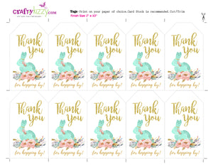 Bunny Thank You Favor Tags - Floral Easter Bunny Tags - Watercolor Thank You Tags - INSTANT DOWNLOAD - CraftyKizzy