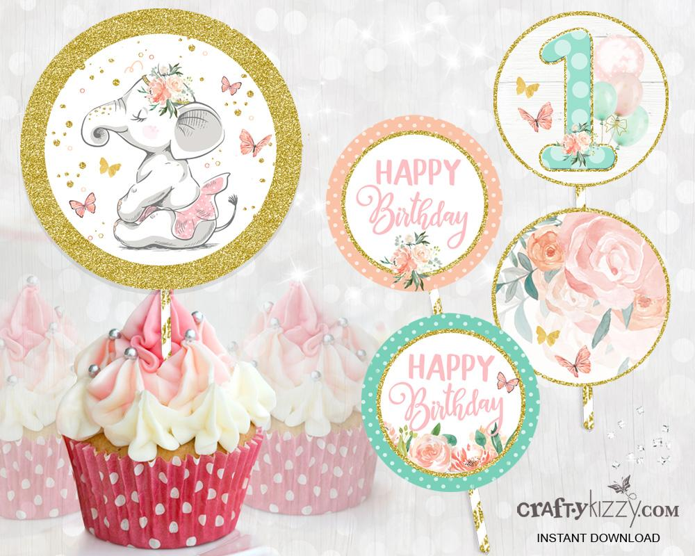 Elephant First Birthday Cupcake Toppers Elephant Ballerina Cupcake Toppers - Printable Pink Party Labels - INSTANT DOWNLOAD - CraftyKizzy