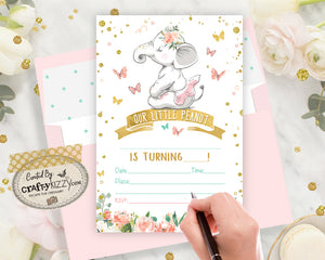 Elephant Blank Birthday Invitations - Ballerina Fill In The Blank Printable Birthday Invitation - First Birthday - CraftyKizzy