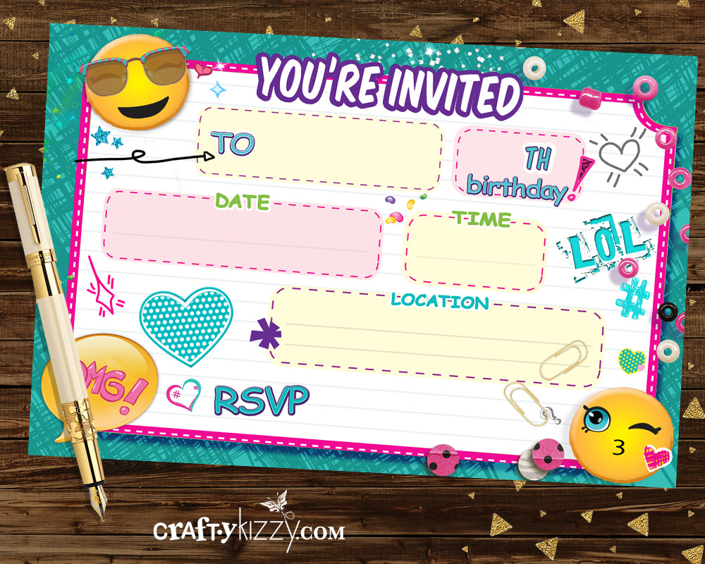 Emoji Fill In The Blank Invitations - Blank Printable Birthday Invitation - Emoji Tween Party Invite - CraftyKizzy