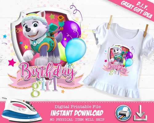 Everest Paw Patrol Birthday Girl Shirt - Paw Patrol  Iron On Outfit for Girls - Digital Transfer Decal - INSTANT DOWNLOAD - CraftyKizzy