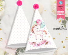 unicorn first birthday printable party hats