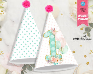 First Birthday Party Hat - Printable First Birthday Party Favors - Boho Girl Floral Party Hats - Polka Dots - INSTANT DOWNLOAD