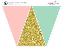 Pink Gold and Mint Triangle Pennant Banner - Birthday - Baby Shower Bunting Flag Banner - INSTANT DOWNLOAD - CraftyKizzy