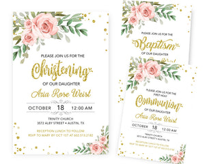 Blush Pink Baptism Invitations - Girl Holy Communion Invitation - First 1st Holly Communion - Naming Day - Dedication - LDS JW Baptism