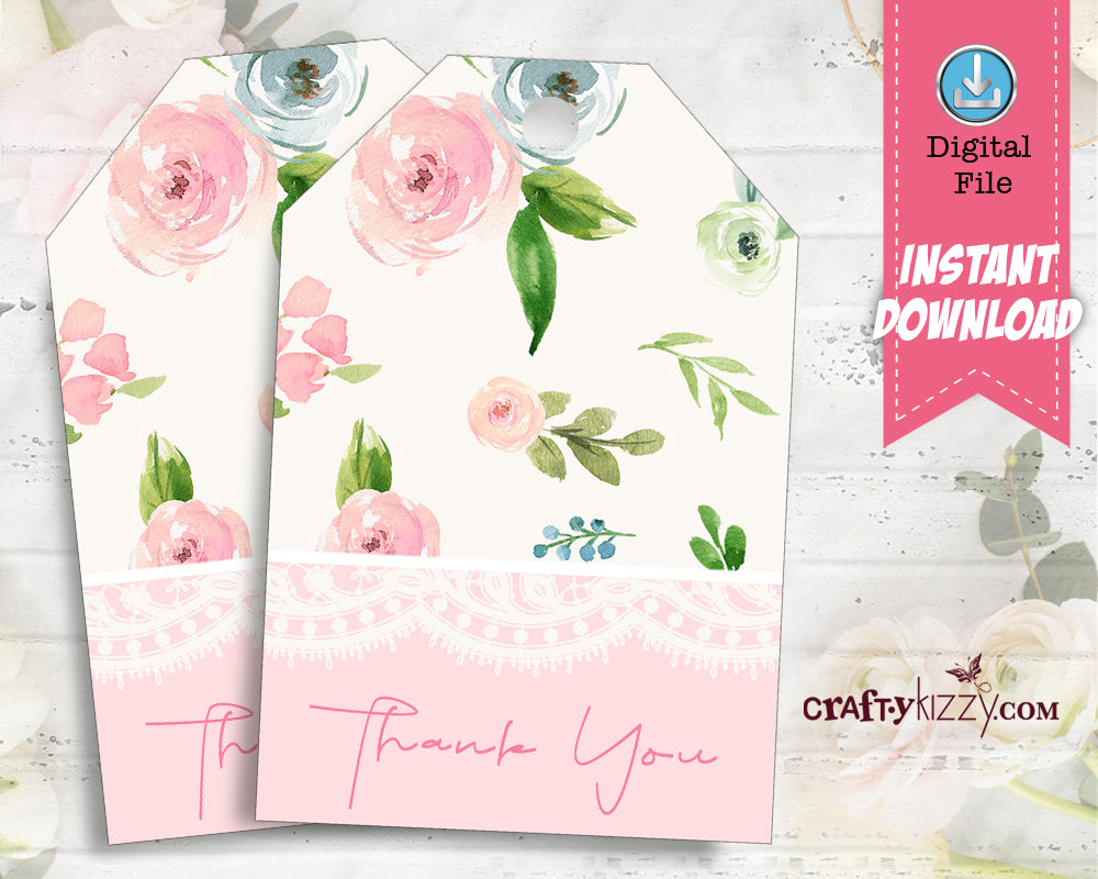 Watercolor Floral Thank You Favor Tags Pink Baby Shower Party Favors - Wedding Favor Gift Tag - INSTANT DOWNLOAD - CraftyKizzy