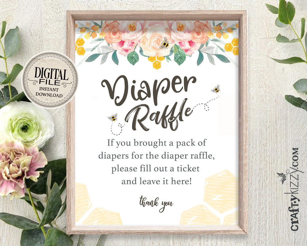 Bee Baby Shower Diaper Raffle Sign - Mommy To Bee Game Sign - Diaper Game Printable Table Signs - INSTANT DOWNLOAD