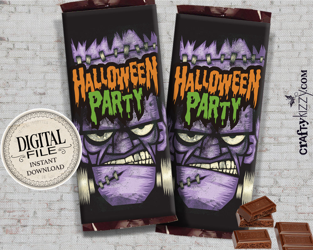 Frankenstein Halloween Chocolate Bar Wrapper - Printable Candy Bar Favors - Halloween Party Hershey's Bar Wrappers - Classroom Favors - INSTANT DOWNLOAD