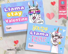 Llama Valentines Cards For Kids - Llama Pun Valentines - Classroom Valentines Day Card - Valentine's Printable - INSTANT DOWNLOAD - CraftyKizzy