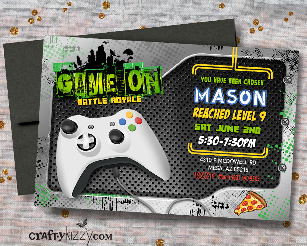 Gamer Birthday Invitations - Game On Boy Birthday Invite - Video Game Invitation - Battle Royale Gaming Party - CraftyKizzy