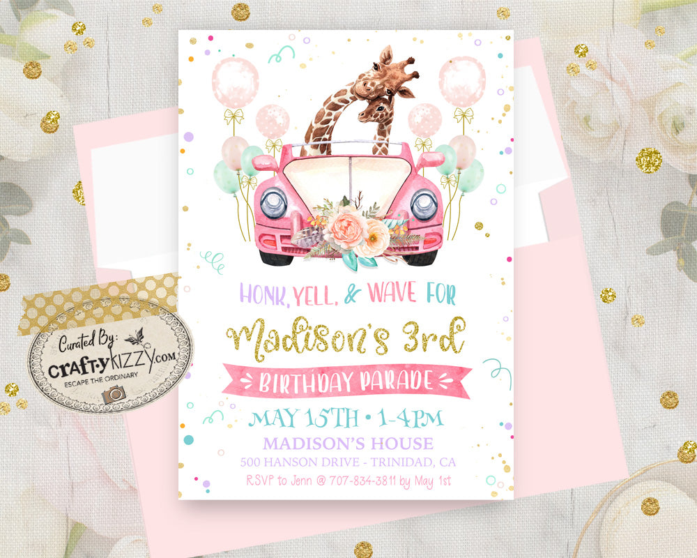 Drive By Birthday Parade Invitation - Girl Quarantine Birthday Party Invitations - Printable Social Distancing Party - Drive By Kids Birthday
