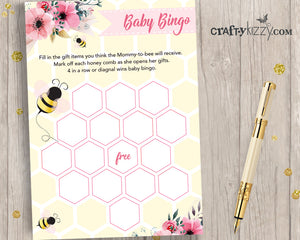 Bumble Bee Books For Baby Insert - Girl Baby Shower Book Request - Babies Library Insert  INSTANT DOWNLOAD