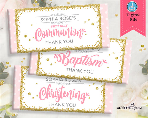 Girl Baptism Candy Wrapper - First Holy Communion Party Favors - Christening Chocolate Bar Label - Personalized - CraftyKizzy