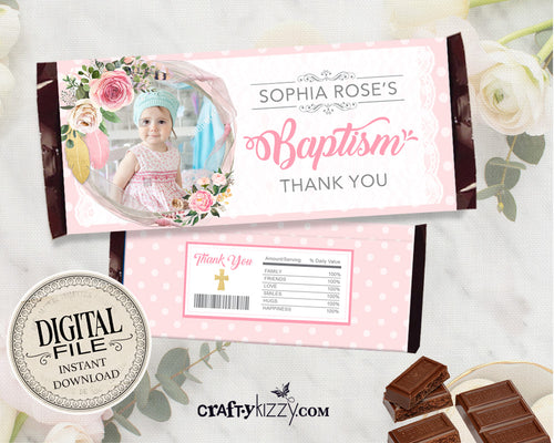 Girl Baptism Candy Wrapper - Floral First Holy Communion Party Favors - Christening Chocolate Bar Label - Personalized