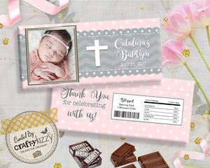 pink baptism candy wrapper