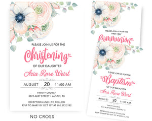 Floral Baptism Invitations - Girl Holy Communion Invitation - First 1st Holly Communion - Naming Day - Dedication - LDS JW Baptism