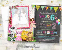 Safari Joint Birthday Invitation - Girl Zoo Animal Joint Party Invitations - Twin Girls Jungle First Birthday - Twins Wild One - CraftyKizzy