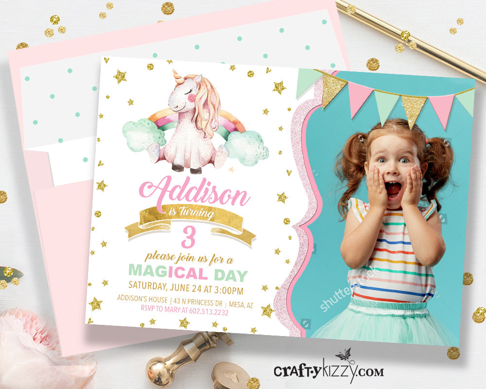 Unicorn Birthday Party Invitation - Pink and Gold Unicorn Invitations - Girl Rainbow Unicorn Birthday Party