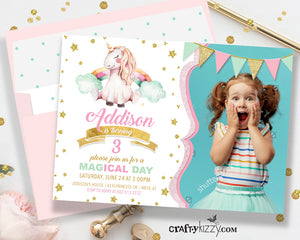 Unicorn Birthday Party Invitation - Pink and Gold Girl Unicorn Invitations - Magical Printable Invitation