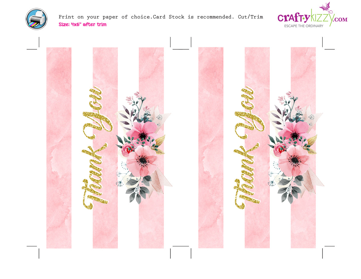 wedding thank you cards printable bridal shower card watercolor flowers baby shower note card