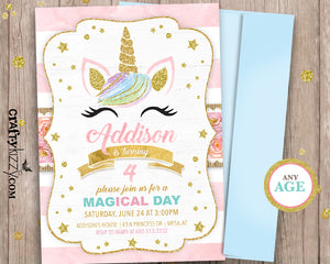 gold and pink girl unicorn birthday invitations printed