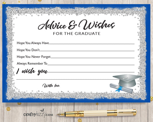 Blue and Silver Graduation Advice Cards for the Graduate - DIY High School or College Party Favor INSTANT DOWNLOAD