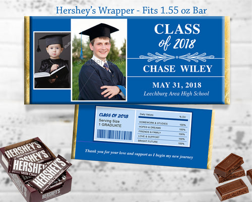 Blue and White Graduation Party Favor Chocolate Bar Wrapper Printable Grad Favors - Time Flies - Hershey's Bar Label Personalized - CraftyKizzy