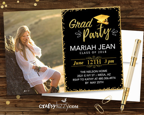 2020 Graduation Party Invitation - High School Grad - College Graduation Invitations - Grad Party Printable Gold and Black or Choose Your Color - CraftyKizzy