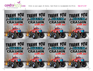 Red Monster Truck Birthday Thank You Tags - Monster Truck Party Favor Gift  Tags - INSTANT DOWNLOAD