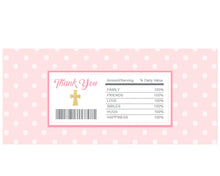 Girl Baptism Candy Wrapper - First Holy Communion Party Favors - Christening Chocolate Bar Label - Personalized