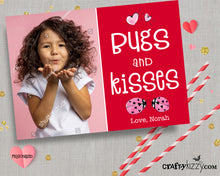 Bugs and Kisses Valentines Day Photo Wallet Cards - Personalized Valentine's for Kids - LadyBug Pun Valentine - CraftyKizzy