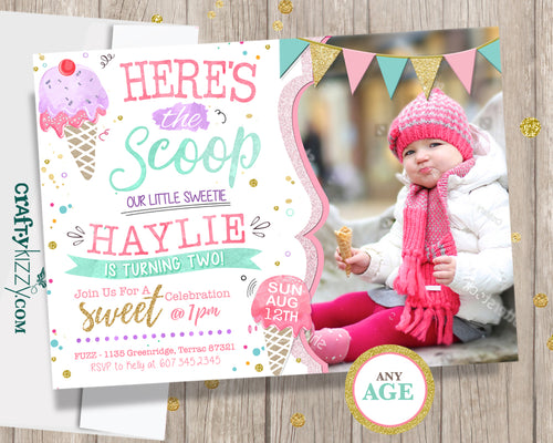 Ice Cream First Birthday Invitations - Twins Two Scoops Second Birthday Invitation -  1st 2nd Birthday Watercolor Printable Invite - CraftyKizzy