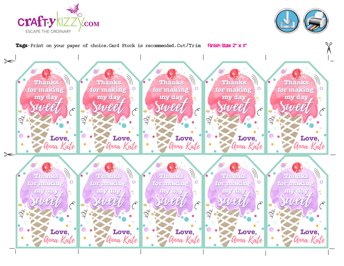 Ice Cream Favor Tags Ice Cream Thank You Tags Watercolor Party