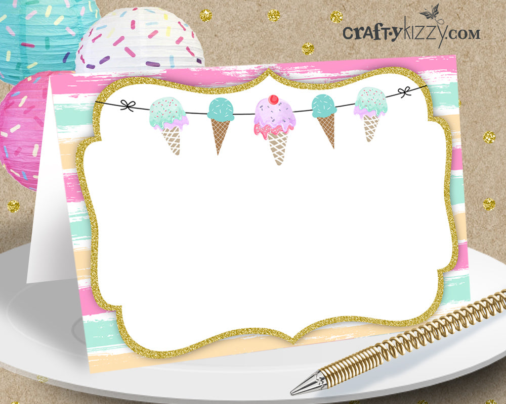 Ice Cream Table Tents Printable Food Tents Ice Cream Table Decorations - Place Cards - Buffet Card - INSTANT DOWNLOAD - CraftyKizzy
