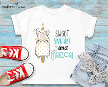 Unicorn Sweet and Smart Tshirt Outfit - First Birthday Ice Cream Shirt - Sweet Smart and Magical Tshirt Birthday Gift - CraftyKizzy