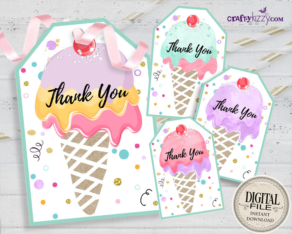 Ice Cream Thank You Favor Tags - Triple Scoop Party Favors - Ice Cream Tag - Party Decor - INSTANT DOWNLOAD
