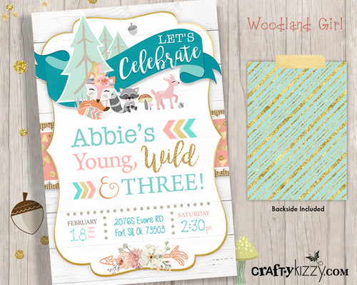 Young Wild and Three Woodland Birthday Invitation Printable Forest Animals - Boho Woodland Party