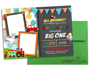 Joint Planes Trains and Cars Birthday Invitation - First Birthday Plane Train Car Automobile Invitations - Transportation Party Invite - Twins