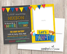 Teddy Bear First Second or Third Birthday Invitation - 1st Birthday Invite Printable Girl Boy - CraftyKizzy