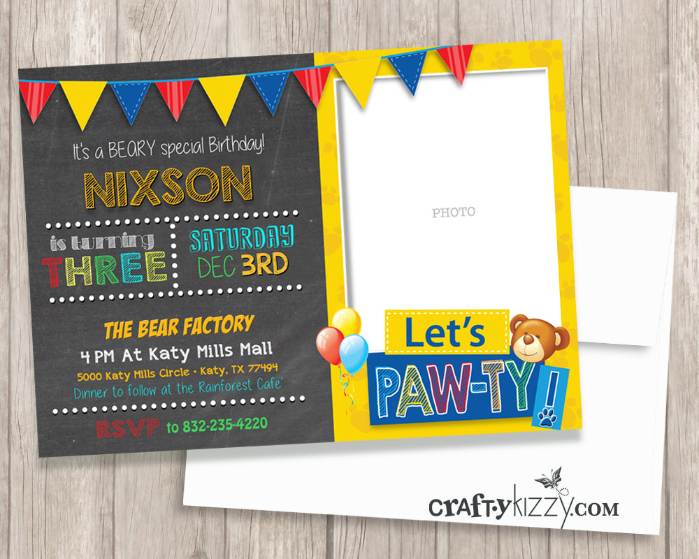 Teddy Bear First Second or Third Birthday Invitation - 1st Birthday ...