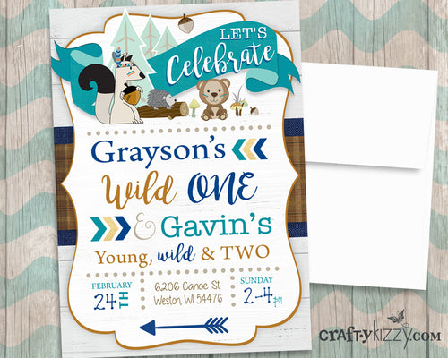 Joint Woodland Boy Birthday Invitation Tribal Wild One - Young Wild and Three Sibling Party Invitations Printable Invites - Forest Animals - CraftyKizzy