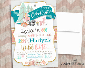 Young Wild and Three Joint Woodland Birthday Invitations - Printable Wild One Tribal Invitation - Tribal Fox